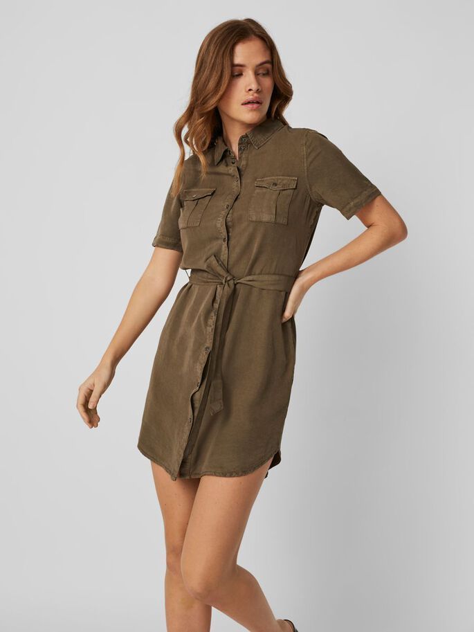 SHIRT MIDI DRESS, Bungee Cord, large