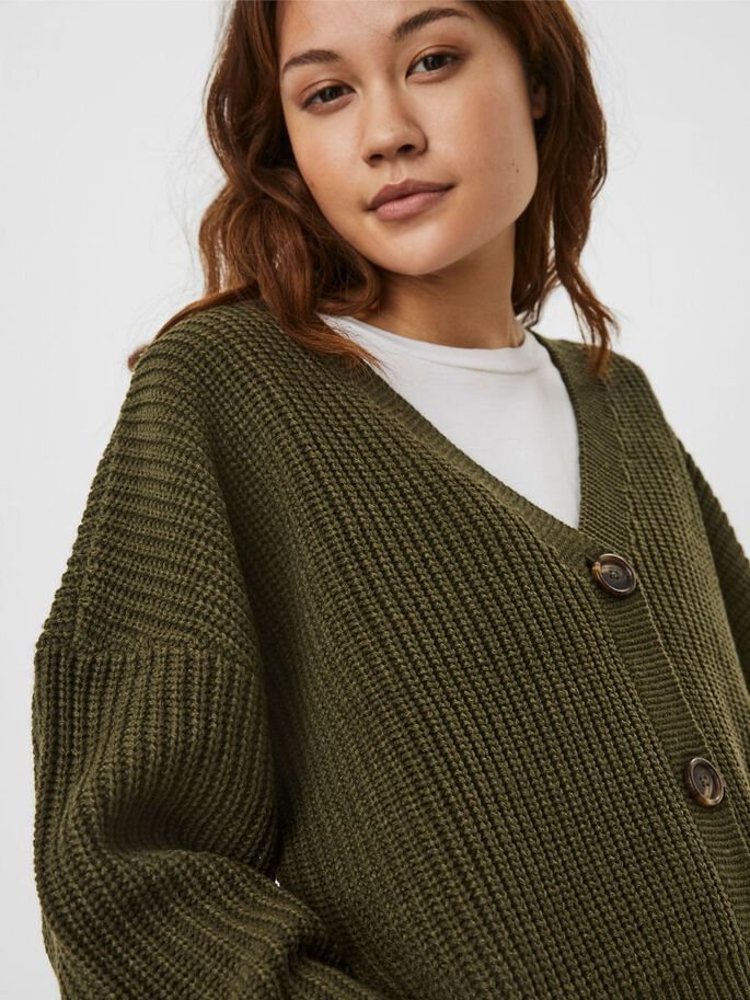V-NECK KNITTED CARDIGAN, Ivy Green, large