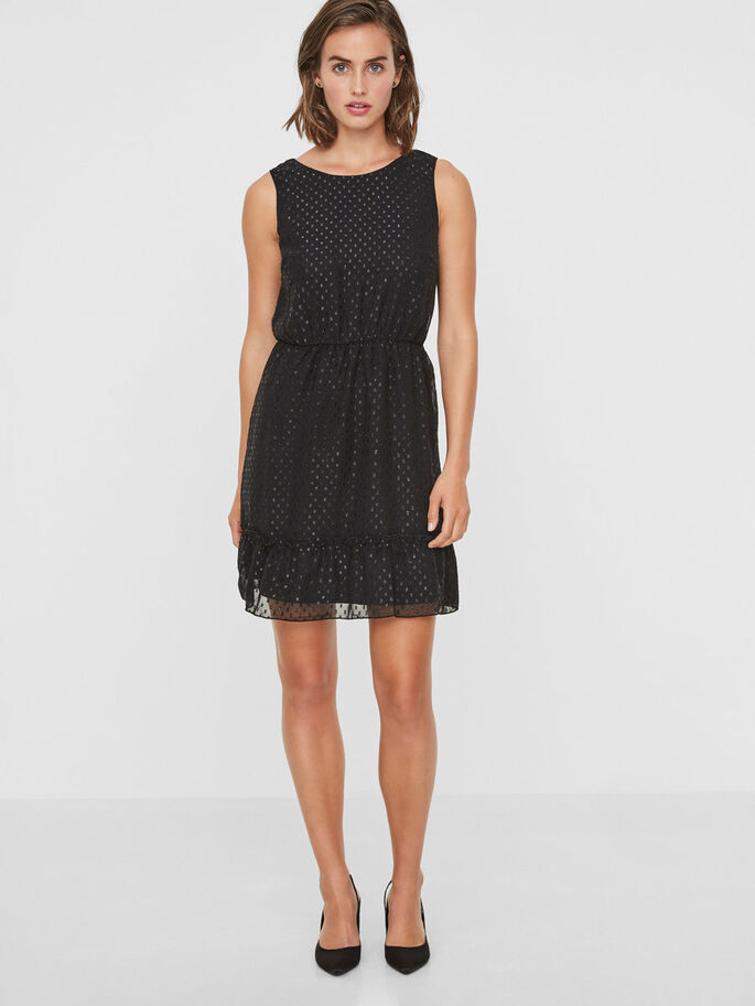 SILVER DOTTED SLEEVELESS DRESS, Black, large