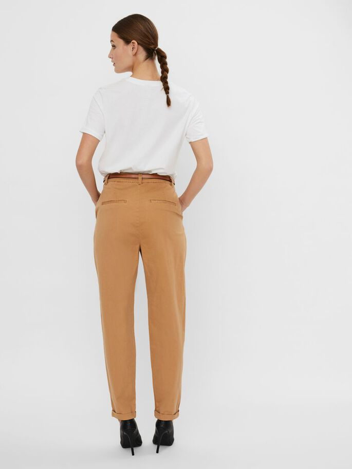 HIGH WAISTED TROUSERS, Tobacco Brown, large