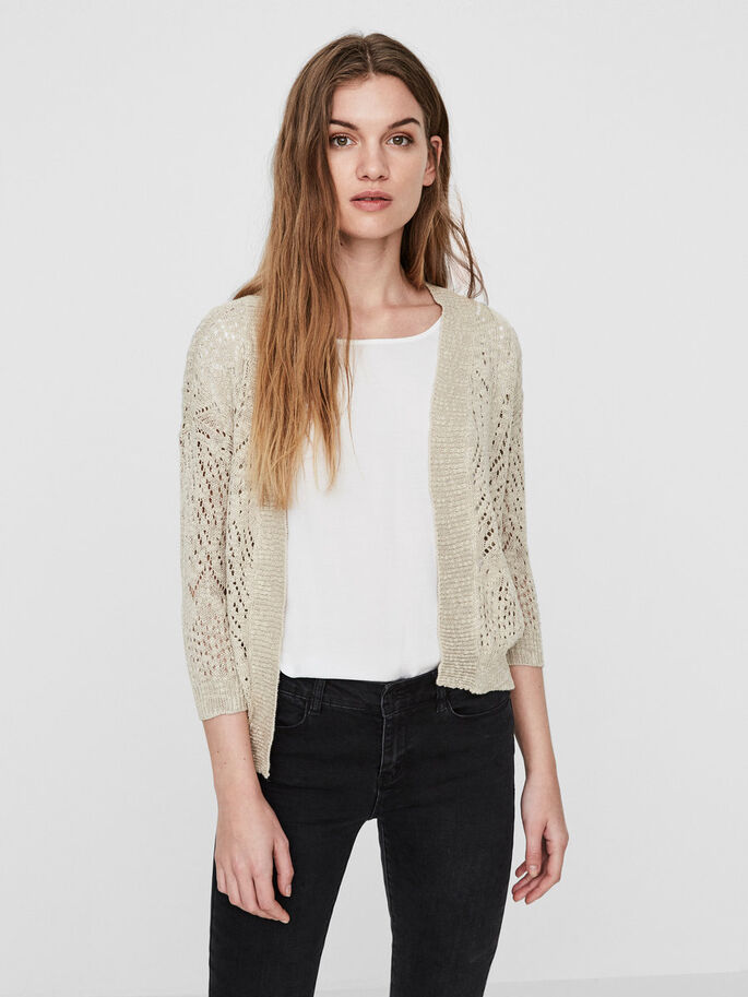 KNITTED CARDIGAN, Oatmeal, large