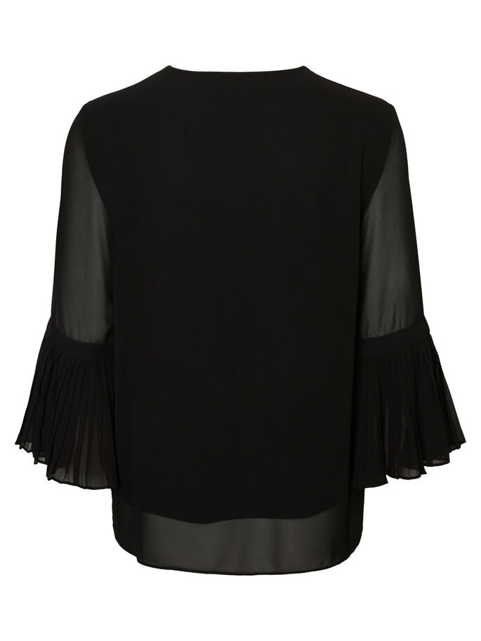 FEMININE 3/4 SLEEVED BLOUSE, Black, large