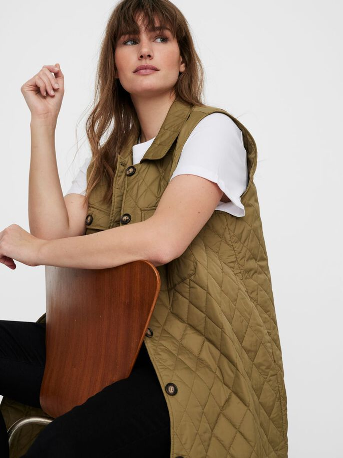 LONG QUILTED VEST, Lizard, large