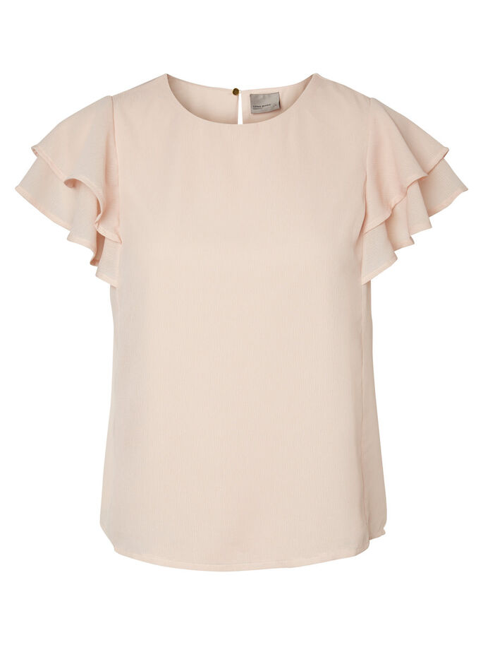 FRILL SHORT SLEEVED TOP, Peach Whip, large