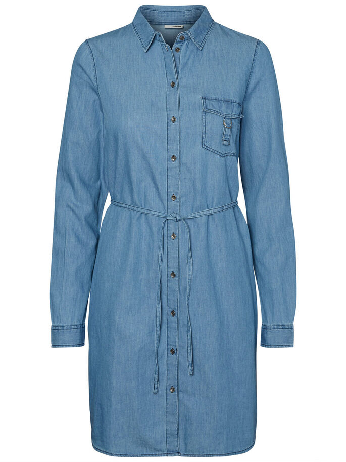 SHIRT DRESS, Medium Blue Denim, large