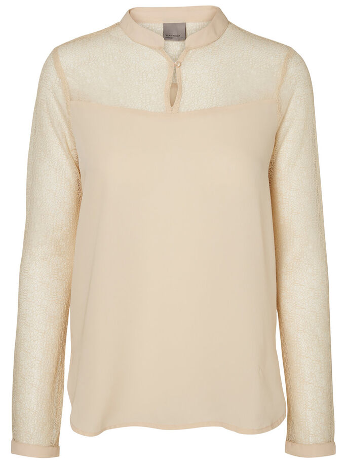 FEMININE LONG SLEEVED BLOUSE, Ivory Cream, large