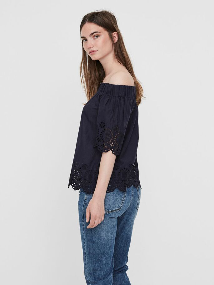 OFF-SHOULDER 2/4 SLEEVED BLOUSE, Navy Blazer, large