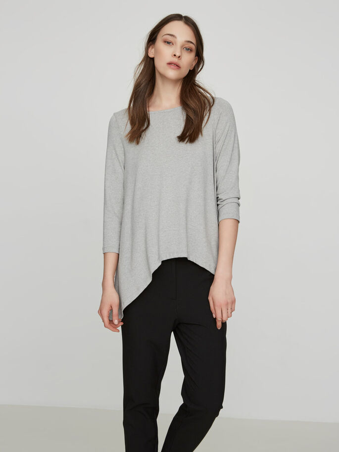 LÄSSIGE BLUSE MIT 3/4 ÄRMELN, Light Grey Melange, large