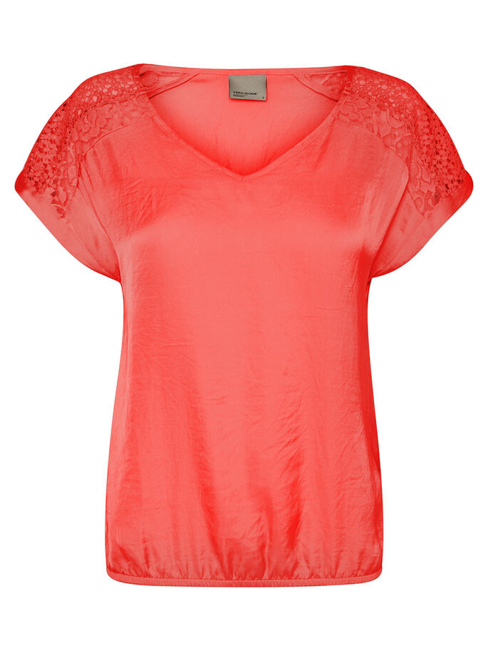 DETAILED SHORT SLEEVED TOP, Hibiscus, large