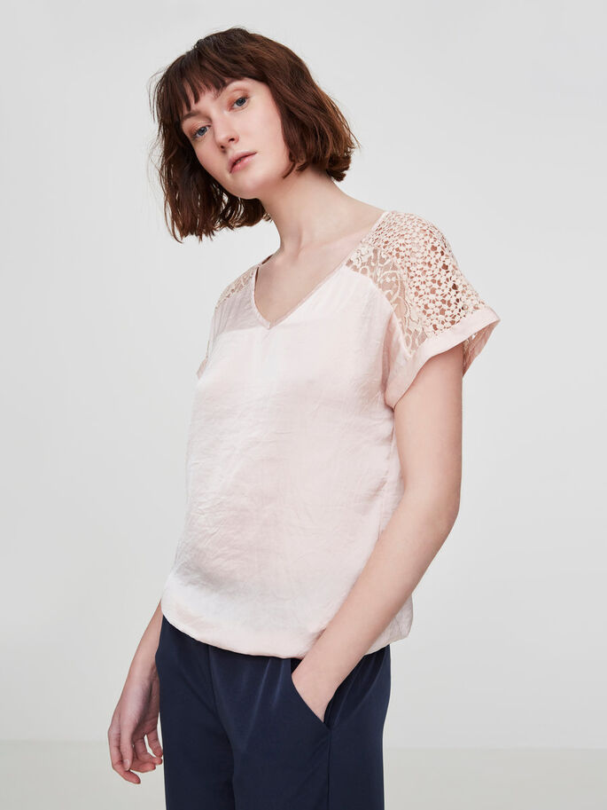 DETAILED SHORT SLEEVED TOP, Peach Whip, large
