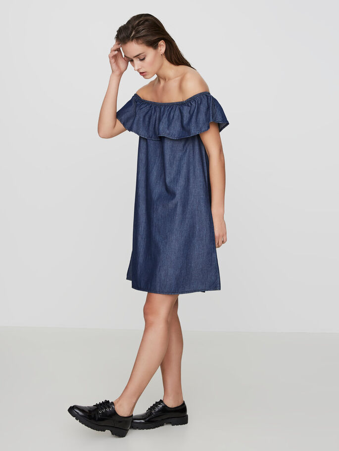 OFF-SHOULDER KJOLE, Dark Blue Denim, large