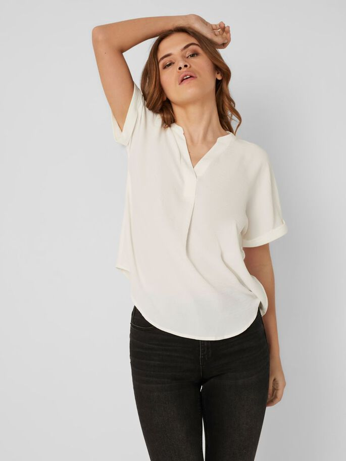 V-NECK SHORT SLEEVED TOP, Snow White, large