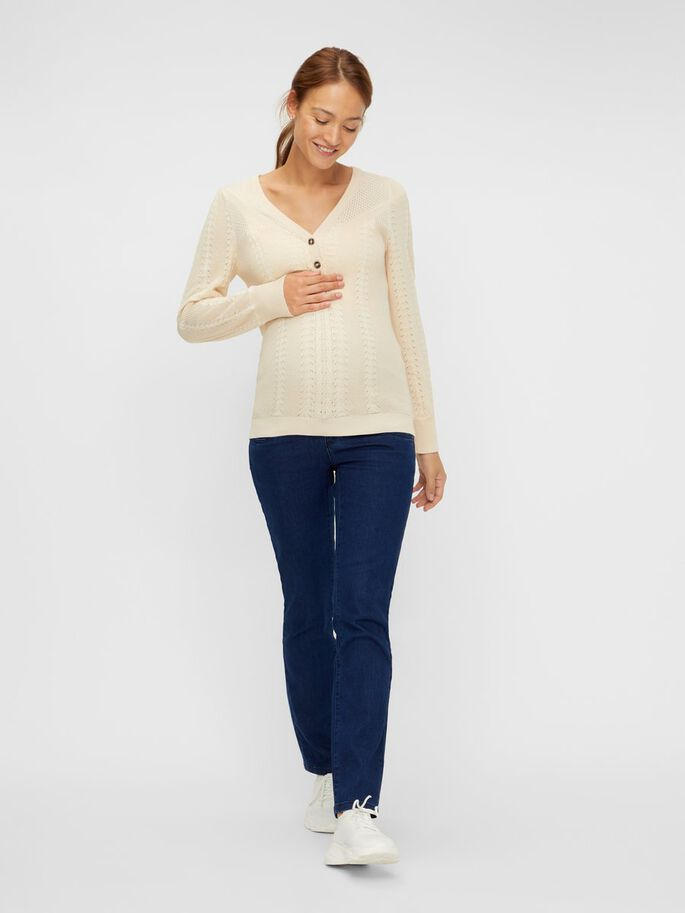 KNITTED 2-IN-1 MATERNITY TOP, Parchment, large