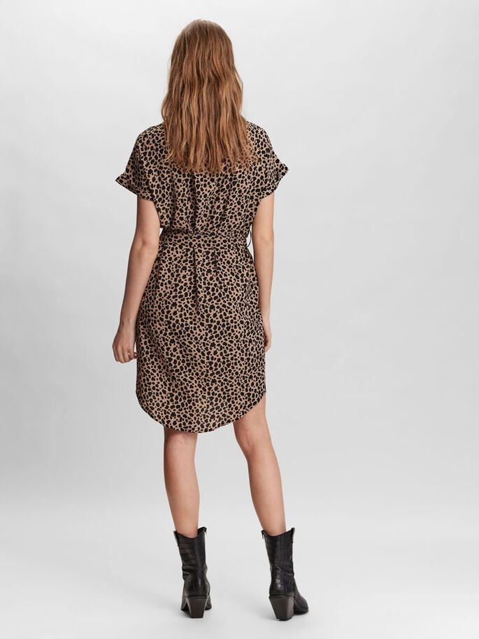 PRINTED MINI DRESS, Black, large