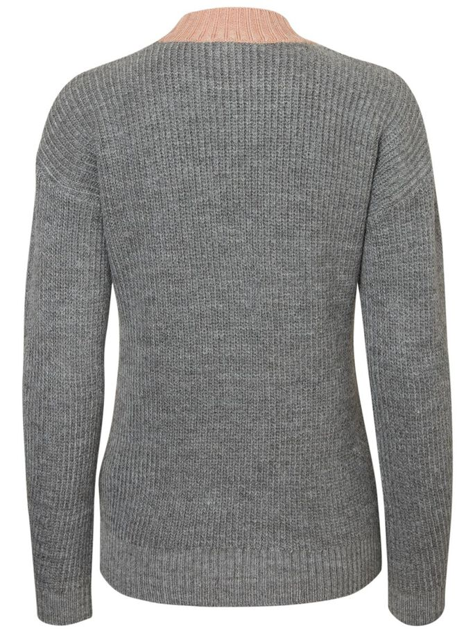CASUAL KNITTED PULLOVER, Medium Grey Melange, large