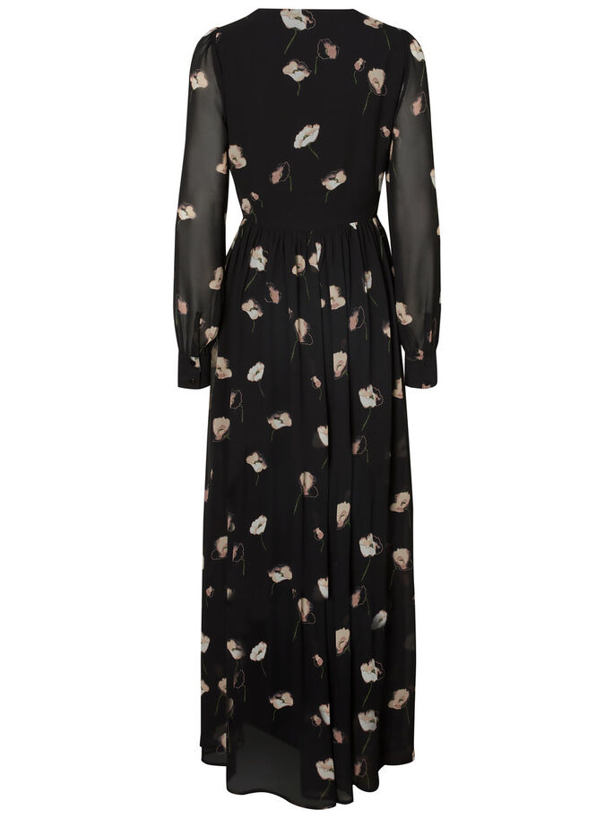 LONG FLOWER DRESS, Black, large