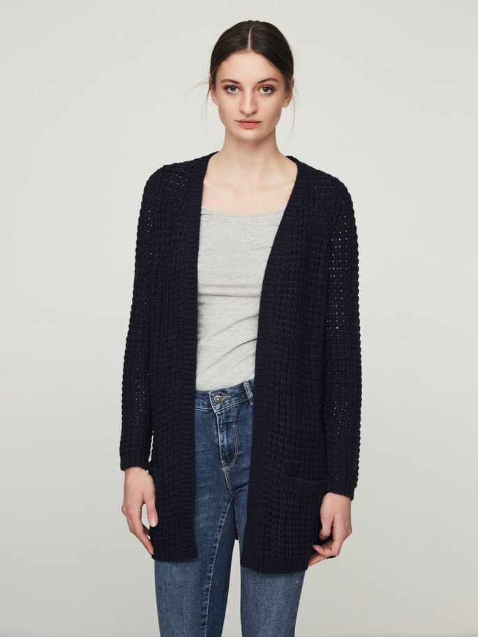 LONG SLEEVED KNITTED CARDIGAN, Navy Blazer, large