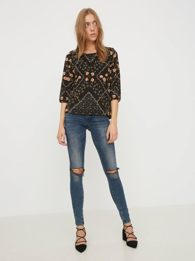 PRINTED 3/4 SLEEVED BLOUSE, Black, large