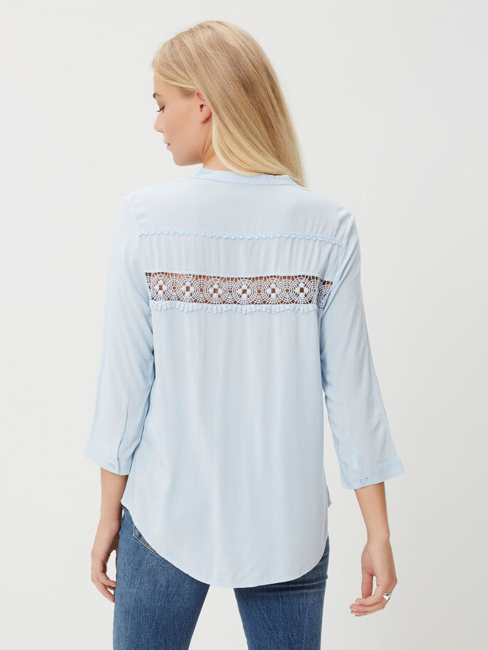 LACED 3/4 SLEEVED BLOUSE, Cashmere Blue, large