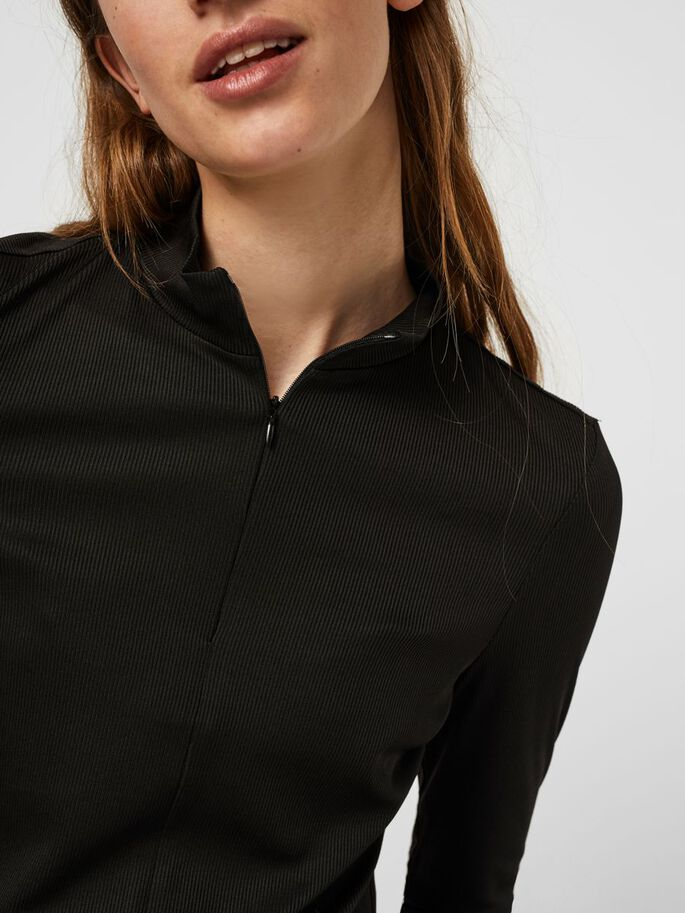 HIGH NECK BLOUSE, Black, large