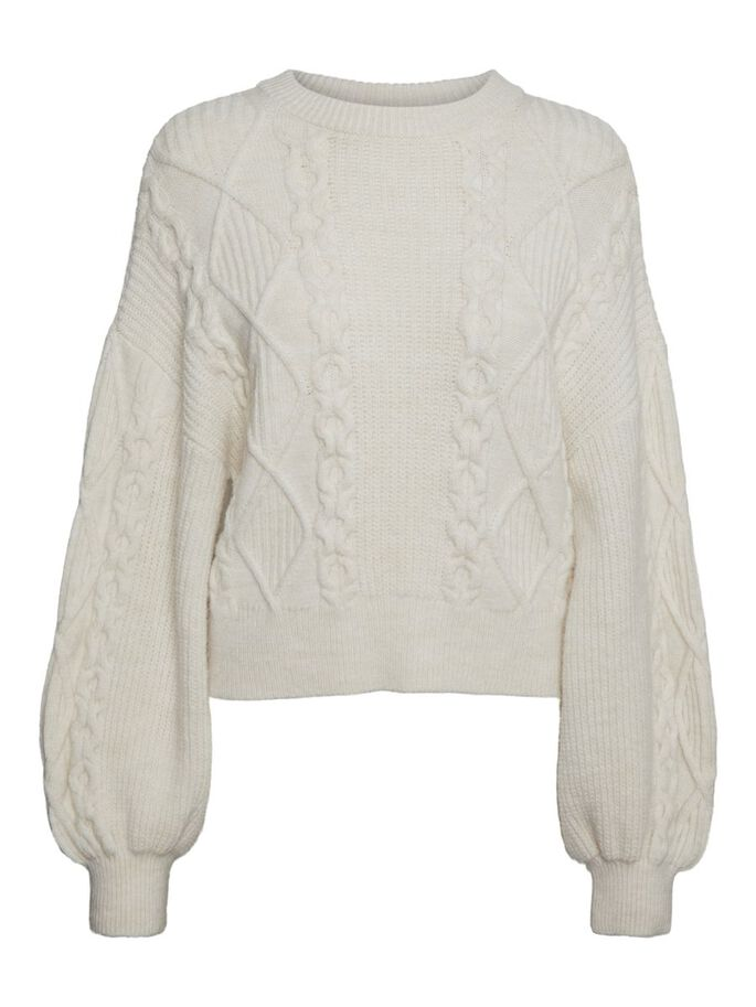 O-NECK KNITTED PULLOVER, Birch, large