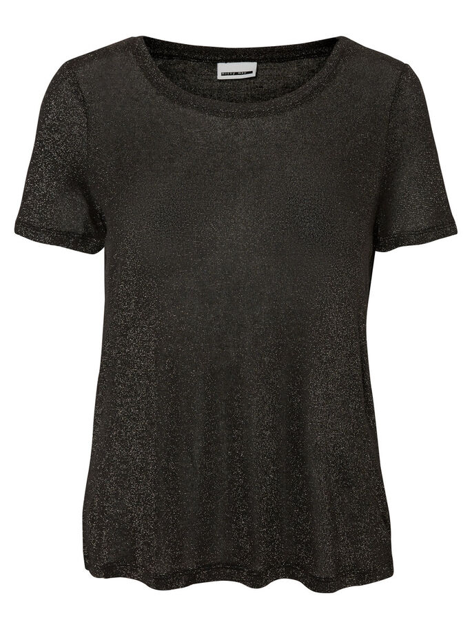 GLITTER SHORT SLEEVED TOP, Black, large