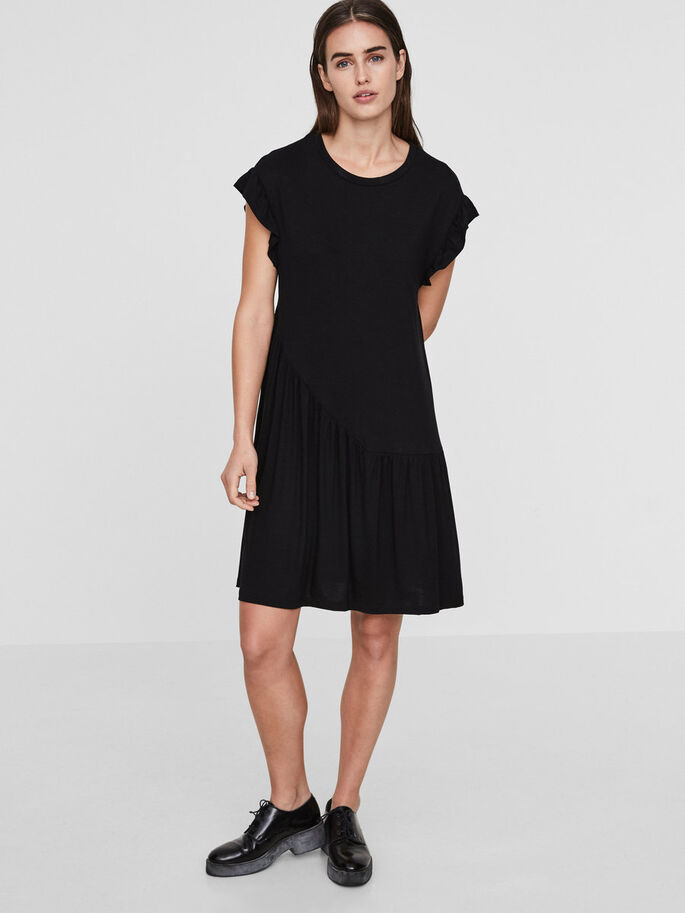 FRILLS SHORT SLEEVED DRESS, Black, large
