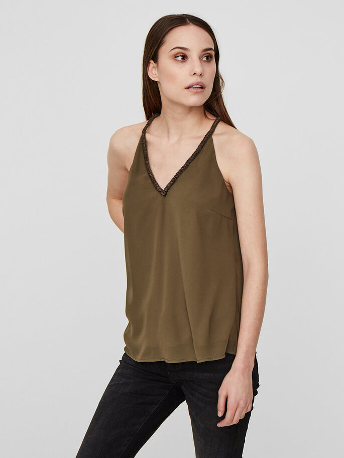 AVEC FINITIONS TOP SANS MANCHES, Dark Olive, large