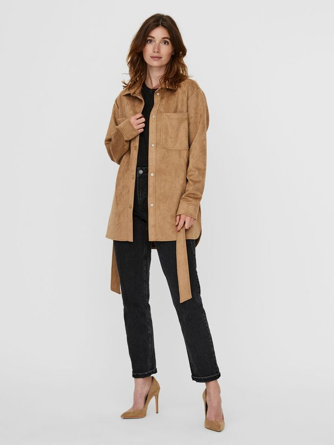 FAUX SUEDE JACKET, Tigers Eye, large