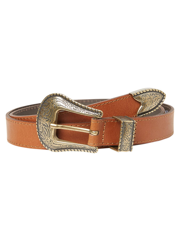 LEATHER BELT, Cognac, large