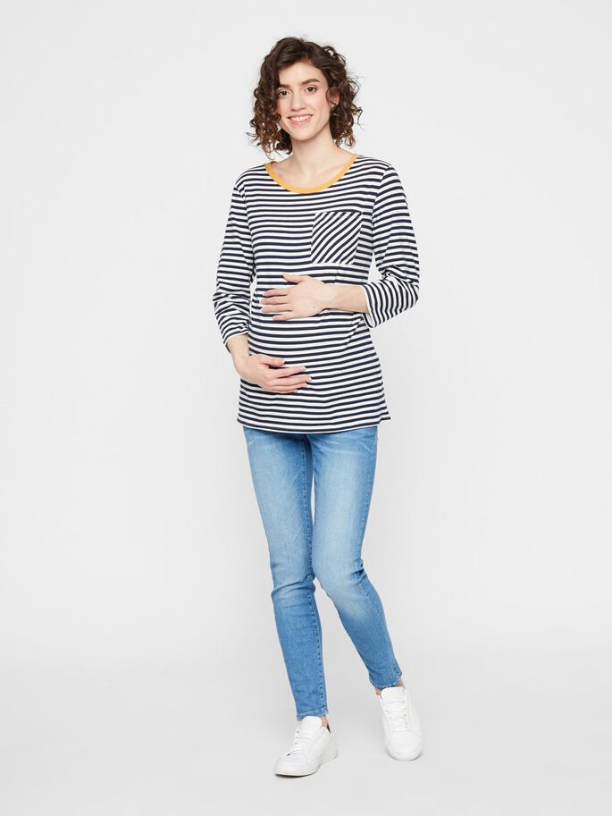 STRIPED 3/4 SLEEVED MATERNITY TOP, Navy Blazer, large