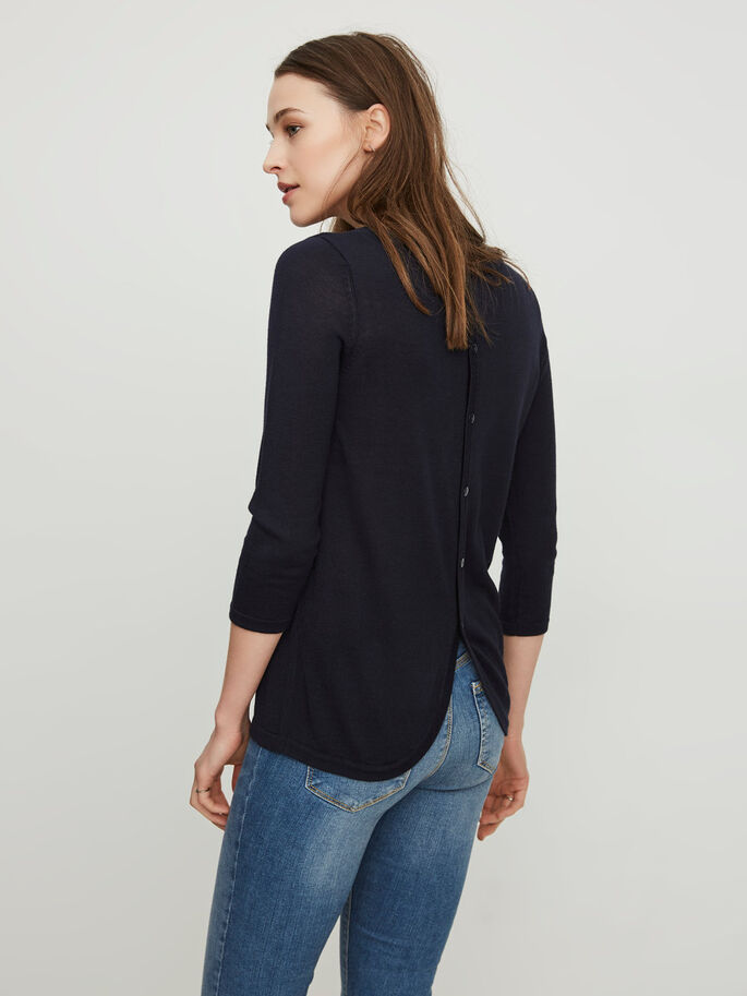 CASUAL 3/4 SLEEVED BLOUSE, Navy Blazer, large