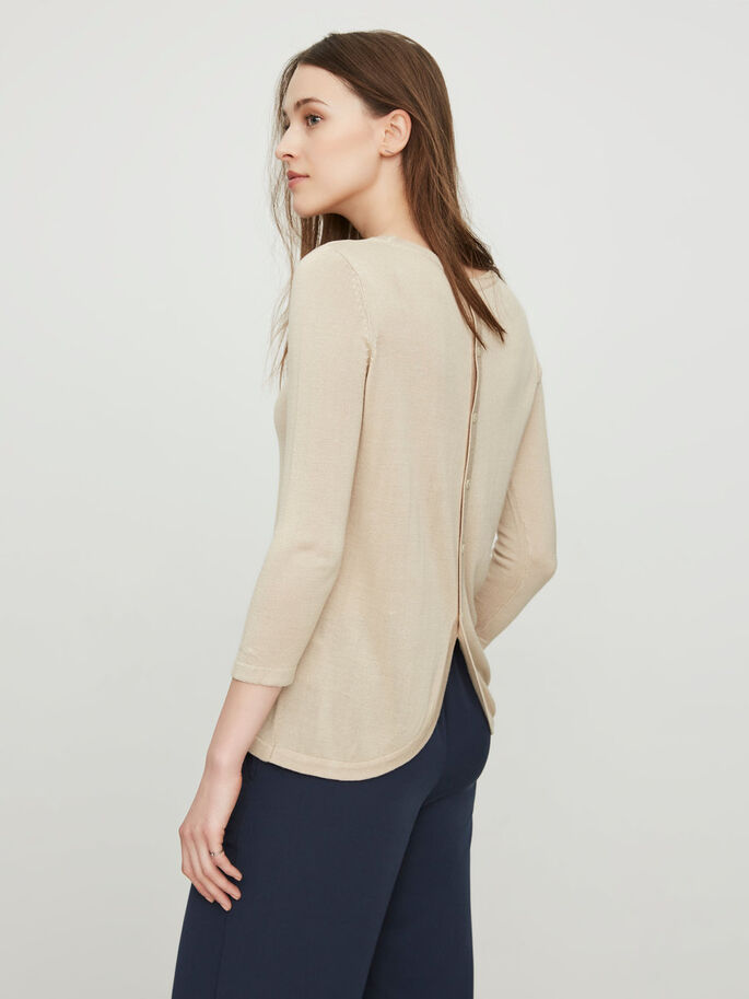 CASUAL 3/4 SLEEVED BLOUSE, Oatmeal, large