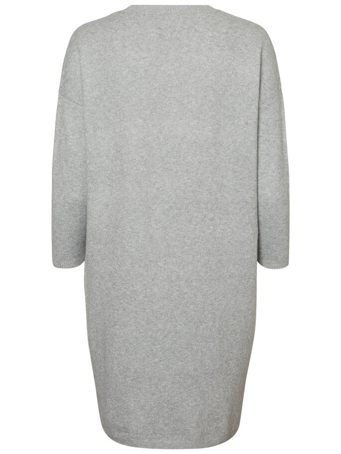 LÄSSIGES STRICKKLEID, Light Grey Melange, large