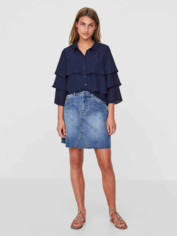 HW DENIM SKIRT, Medium Blue Denim, large