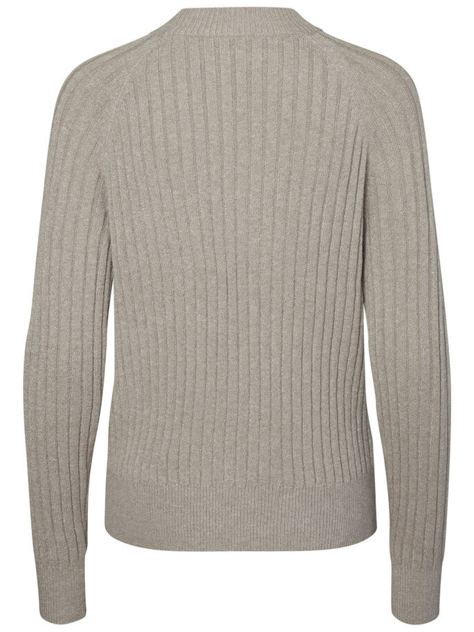 COL MONTANT PULL EN MAILLE, Light Grey Melange, large