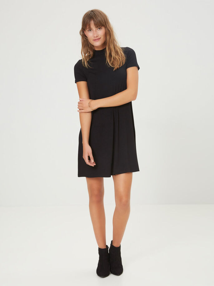 SHORT SLEEVED DRESS, Black, large