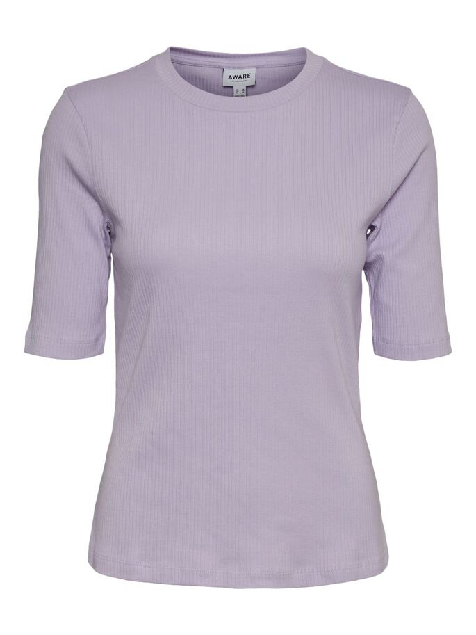 HIGH NECK SHORT SLEEVED TOP, Pastel Lilac, large