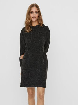 HOODED KNITTED MINI DRESS
