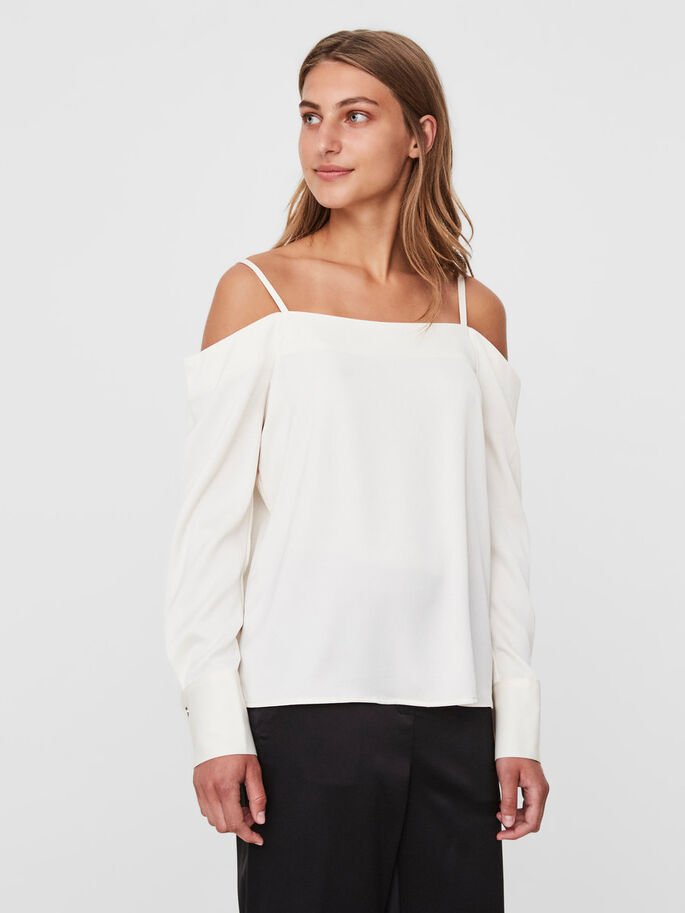 AWARE OFF-SHOULDER LONG SLEEVED TOP, Eggnog, large