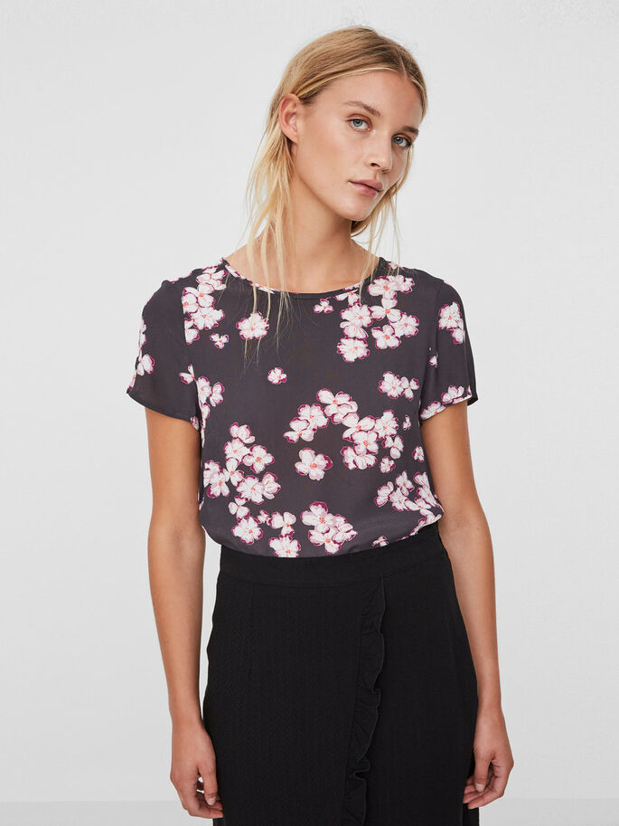 FLOWER T-SHIRT, Asphalt, large