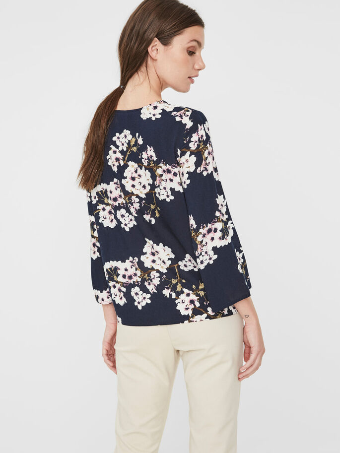 FLOWER 3/4 SLEEVED BLOUSE, Navy Blazer, large