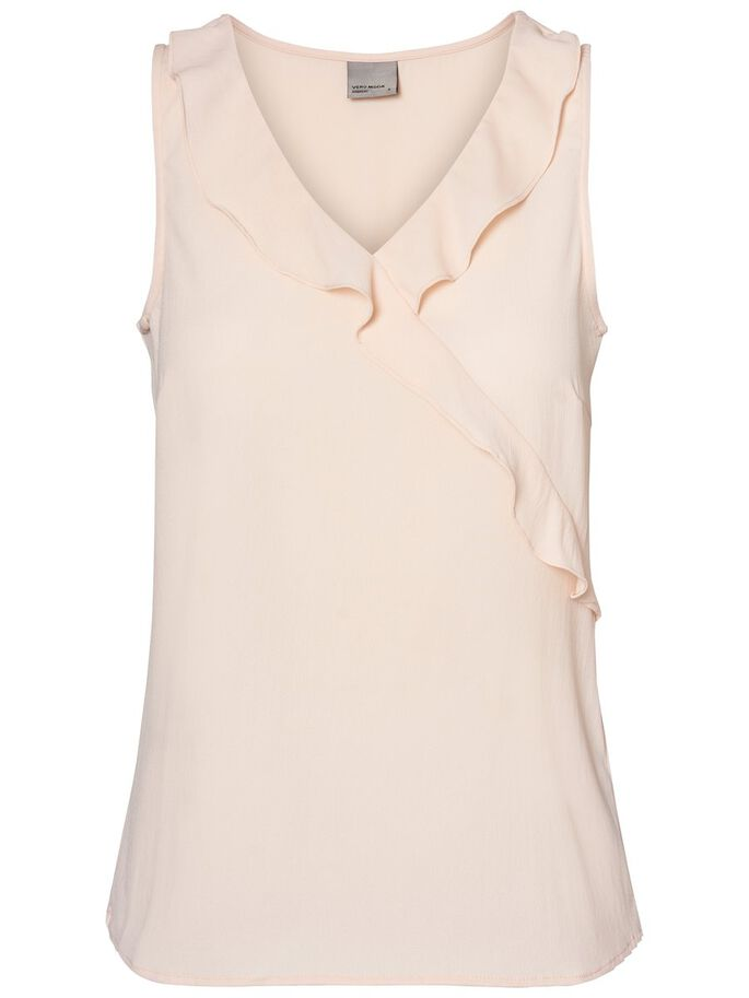 FRILL SLEEVELESS TOP, Peach Whip, large