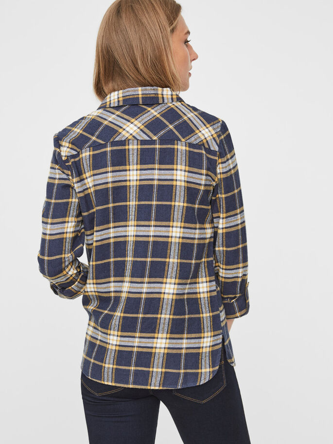 CHEQUERED LONG SLEEVED SHIRT, Navy Blazer, large