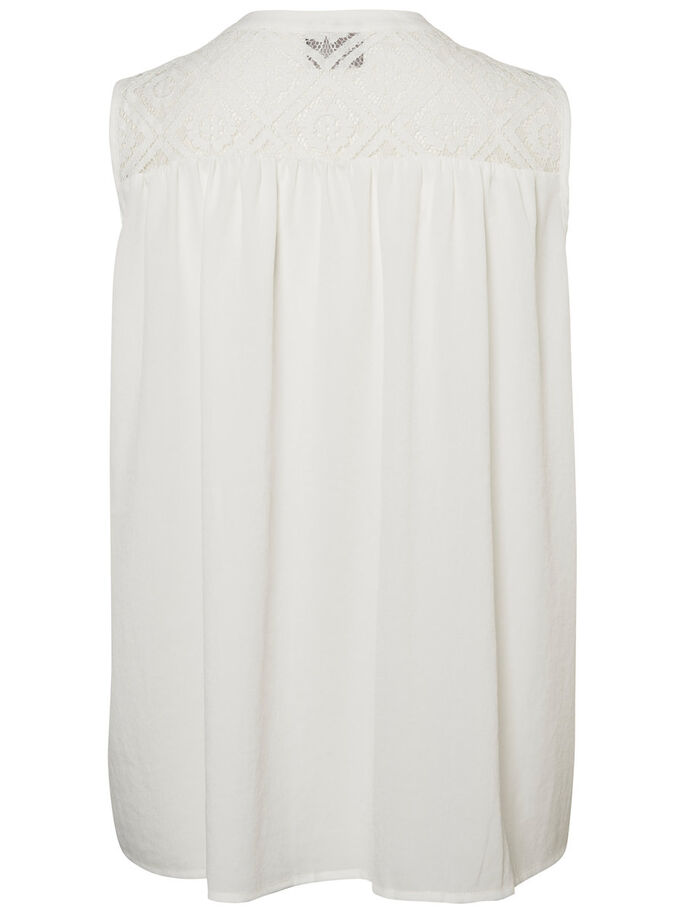 LACE SLEEVELESS SHIRT, Snow White, large