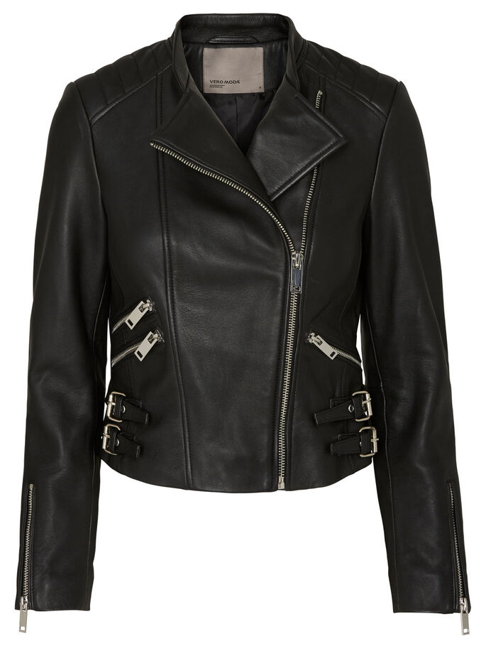 BIKER LEATHER JACKET, Black Beauty, large