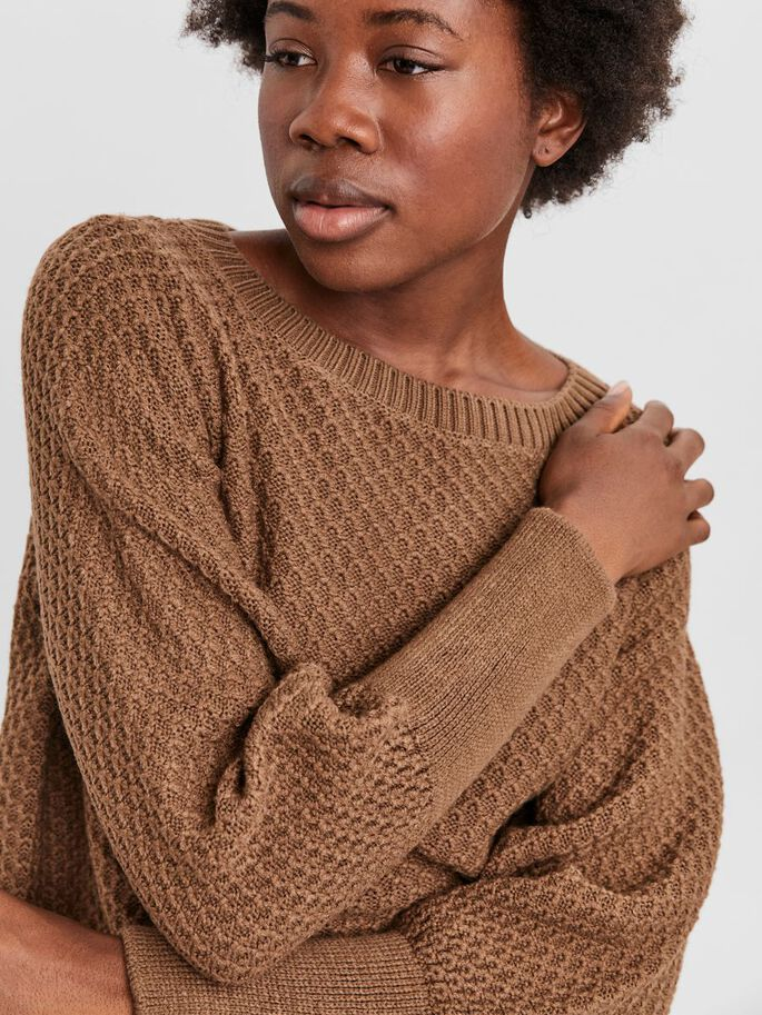 O-NECK BLOUSE, Tobacco Brown, large