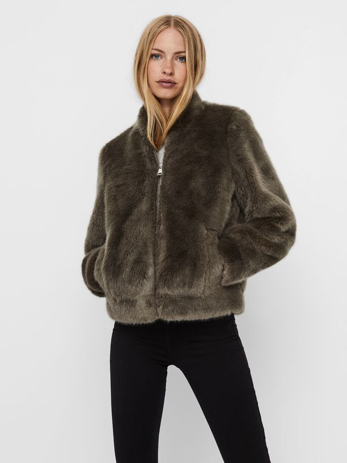 FAUX FUR BOMBER JACKET, Bungee Cord, large