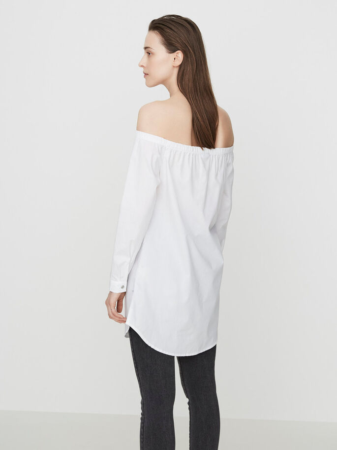 OFF-SHOULDER LANGERMET SKJORTE, Bright White, large