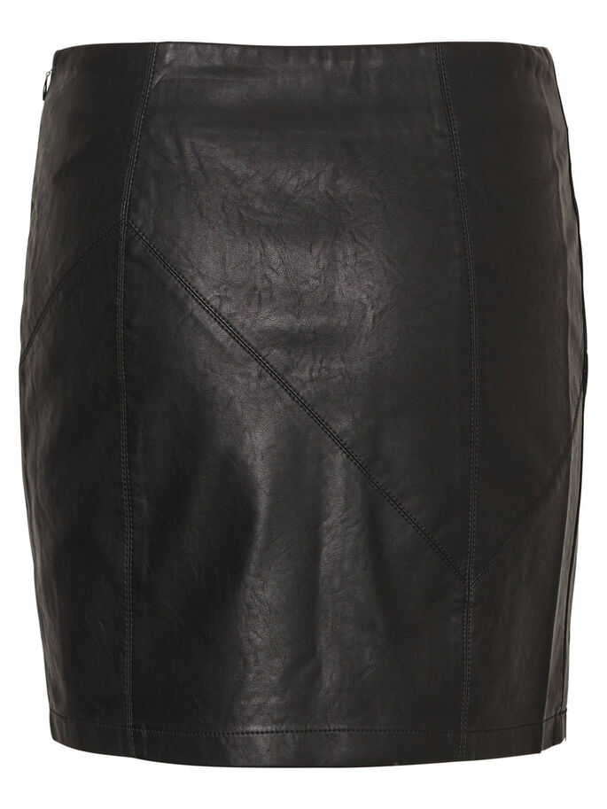 LEATHER-LOOK SKIRT, Black, large